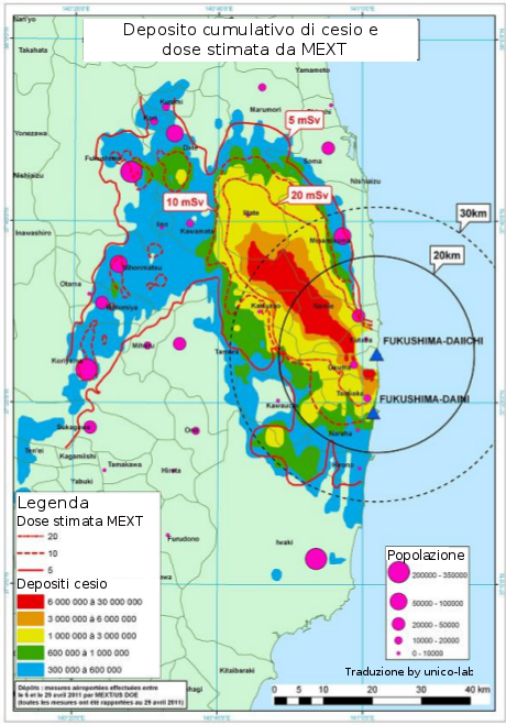 cesio radioattivo a Fukushima